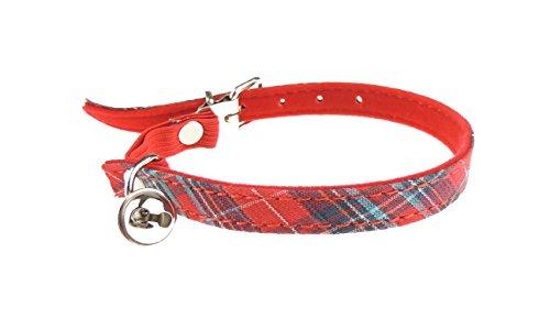 (Glamour Girlz Katzen-Halsband, besonders niedlich, mit Karomuster, Sicherheitsschnalle und Glocke, elastisch)