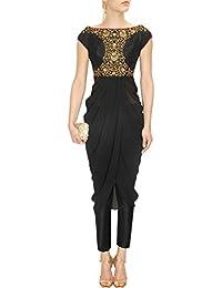 Fabron Black Floral Sequins Embellished Off Shoulder Drape Kurta And Straight Pants Set.