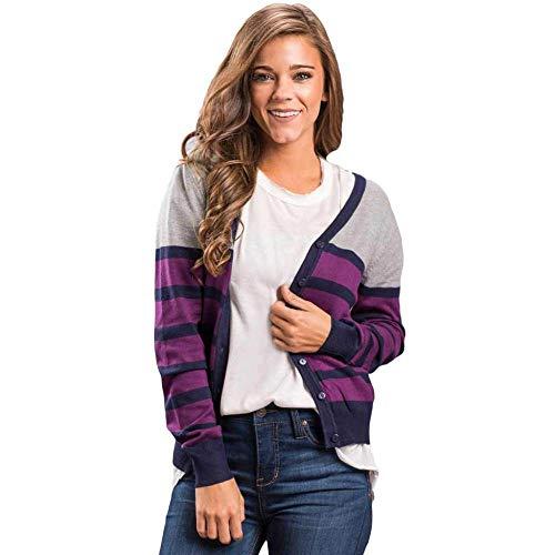 KAIDILA Pflaume gestreift grau leicht gestrickter Cardigan Herbst und Winter New Kontrast V-Ausschnitt einreihig langärmelige Strickjacke Pullover Jacke Casual Stricken Pullover Mädchen - Pflaume-pullover-strickjacke