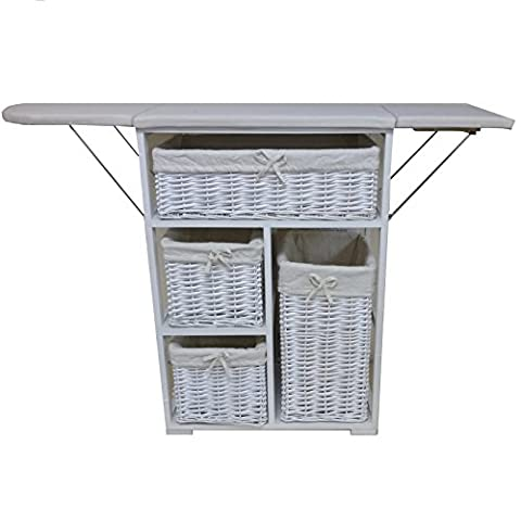 Shabby Chic Wheeled 4 Drawers Wooden Cabinet With Folding Iron Ironing Board Wooden Wicker Style Storage Baskets Cabinet Bedroom Bedside Unit Furniture