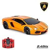 Lamborghini Aventador Voiture avec télécommande pour Enfants avec lumières de Travail, Radio pilotée sur Route RC modèle 1:18 2,4 GHz Orange Grands Jouets pour garçons et Filles