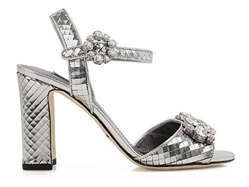 Dolce & Gabbana Sandales à Talons Hauts en Cuir Argent - Code Modèle: CR0220 AE702 8D710 Argent