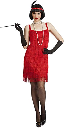 Imagen de disfraz charleston flecos rojo x l