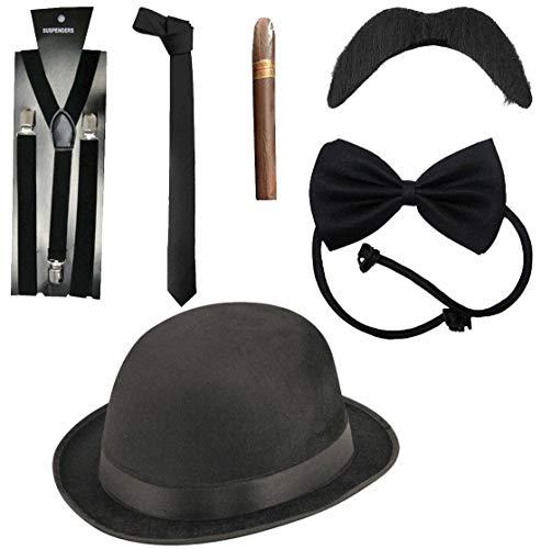 Islander Fashions Adult Deluxe 6-teiliges Gangster-Kostüm-Kit für Herren der 1920er-Jahre, Kostümzubehör