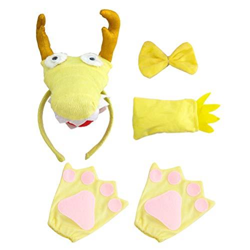 Amosfun Dragon Cosplay Kostüm Dragon Stirnband Krawatte Schwanz Handschuhe Sets Halloween Performance Requisiten für Kid Cosplay Zubehör