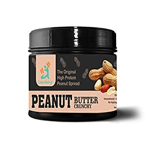 Leanbeing Peanut Butter Crunchy 100% Natural (1 Kg)  Unsweetened, Non-GMO, Gluten Free, Vegan
