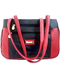 HOT STYLISH TRENDY BLACK AND RED LEATHER HAND BAG
