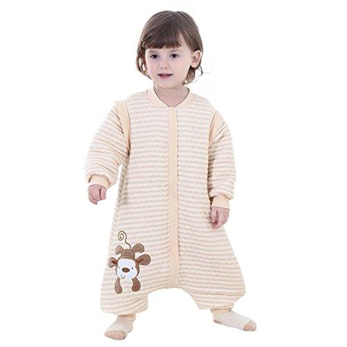 Ruiying Baby Schlafsack mit Füßen und Langarm Schlafanzug Baumwolle Mit reizendem Affe-Cartoon-Entwurf (XL, Beige)