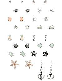 """SIX """"Basic"""" großes Set mit 16 verschiedenen Ohr Ringen Steckern Hängern, maritime Formen in silber, mint, türkis, Meeres Tiere (702-252)"""