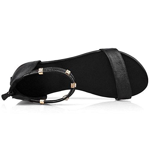 COOLCEPT Damen Mode-Event Knochelriemchen Sandalen Open Toe Flach Schuhe Mit Zipper Schwarz