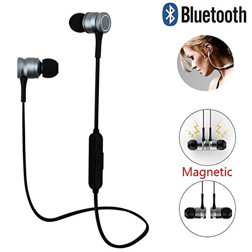 mobicell Xiaomi Mi 4 Compatible Magnetic Bluetooth Waterproof Attractive Headphone with Hands-Free Mic and Controlling Buttons with Magnetic Earbuds, (Silver) (Magnet_Earphone_silver41)