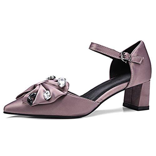 Damen Pumps Spitze Zehen Seide Mittelhohem Blockabsatz mit Schleife Schnalle Violett