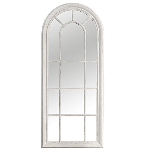 Romantischer Spiegel CASTILLO weiß 140 cm im Shabby Look Wandspiegel Standspiegel Dekoration Fenster-Optik