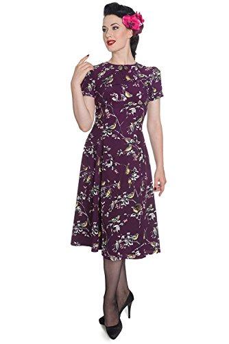 Hell Bunny Birdy 40er 50er Jahre Pin Up Vintage Stil Kleid (S (EU 36), Lila)