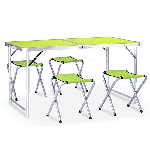 LINGJIE Outdoor Klapptisch Klappbarer Tragbarer Esstisch,Green-4Chair (Buffet-tisch Zum Verkauf)