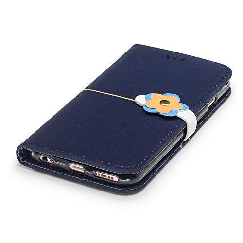 Coque pour iPhone 6/6S Portefeuille Cuir,ETSUE Housse iPhone 6/6S Case Cuir,iPhone 6/6S Coquille en Cuir Pu Housse Etui Folio Flip Coque Romantique Élégant Beau Joli Fleurs Motif en Relief 3D Leather  Blu