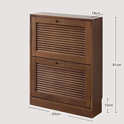 BOOK CASE DD- Shoebox, Europäisches Festes Holz-Multifunktionshallen-Kabinett/Portal-Kabinett - Große Kapazität Balkon-Schließfach (größe : Brown-2 Tipping Bucket)