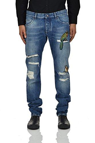 Dolce&Gabbana Gold Jeans Colored Birds Herren - Größe: 52 - Farbe: Blau - Neu