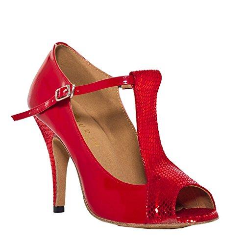 Minitoo–th012T-Strap Comfort pleather matrimonio ballo Latina taogo Dance Sandals Rosso (rosso)