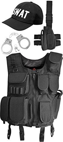 Kostüm Swat Damen - normani SWAT Kostüm bestehend aus Weste, Pistolenholster, Cap und Handschellen Farbe Schwarz Größe M
