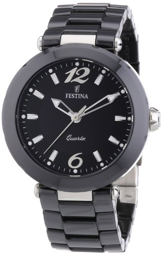 Festina Women's Quartz Watch with Black Dial Analogue Display and Black Ceramic Bracelet F16640/2