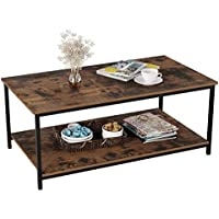 Homfa Coffee Table Industrial Side Table Living Room Table with Metal Frame for Home Office 110x60x45cm