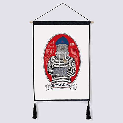 mmzki Nordic geteilt und niedlichen Tier hängen Gemälde Wanddekoration Kunst hängenden Tuch 5 45x65cm