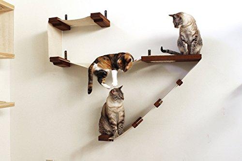 Catastrophicreations deluxe cat playplace–amaca cat & climbing activity center–albero mensole a parete artigianale: gatto