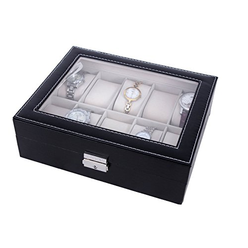 Songmics-new-Black-10-Watch-Storage-Box-Case-Bracelet-Bangle-Display-Tray-JWB010