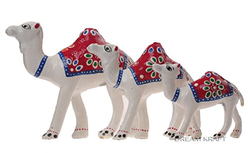 DreamKraft HandCrafted Set of 3 Showpiece Camel For Decoration And Gift Purpose (12X12CM ,10X 10CM ,8X 8CM) (White2)