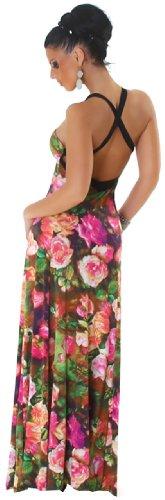 Panacher Damen Träger-Maxikleid extra lang mit Muster Einheitsgröße (32-38) Pink