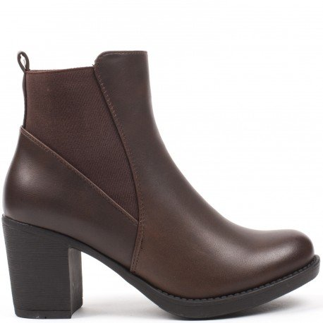 Ideal Shoes - Bottines en similicuir avec bande élastique Poema Marron