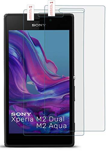 moex 2X 9H Panzerfolie für Sony Xperia M2 | Panzerglas Bildschirm Glasfolie [Tempered Glass] Screen Protector Glas Bildschirmschutz-Folie für Sony Xperia M2 / M2 Dual / M2 Aqua Schutzfolie