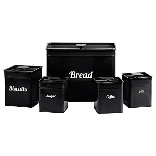 Nice 5 Piece Kitchen Storage Canister Tin Set, Biscuits Tea Coffee Sugar Bread  Available In Black, Grey Red U0026 Cream (Black)