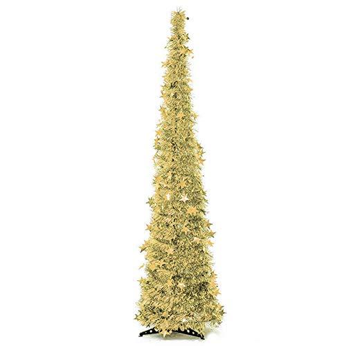Langde albero di natale artificiale 120 cm con supporto, alberi natale artificiali pino, stella finto decorato, materiale pvc, decorazioni naturale per christmas - oro
