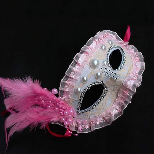 ux Perle Spitze Maske Erwachsene Kinder Cosplay Nette Weibliche Maskerade Prinzessin Party Maske (Farbe : Pink) ()