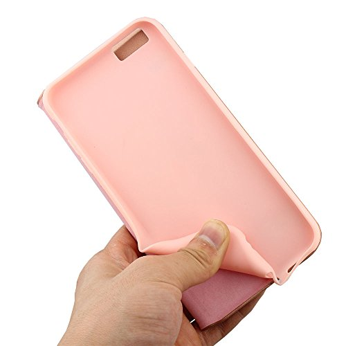 Nouske Étui en cuir pour Apple iPhone 6 Plus / iPhone 6S Plus, à rabat Folio S View avec fenêtre Cover Coque TPU, avec Support Protection intégrale, Noir Rose d'or