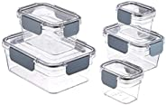 AmazonBasics Tritan 10 Piece (5 Containers and 5 Lids) Food Storage Container (Air Tight and Leak Proof), Safe