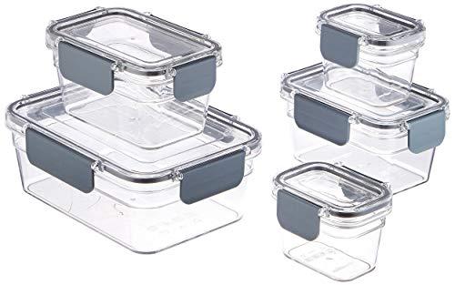 Amazonbasics - contenitore per alimenti con chiusura, in tritan, 10 pezzi (5 contenitori + 5 coperchi)
