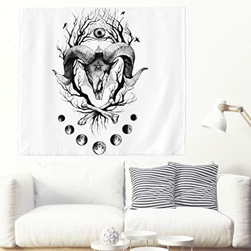 Knochen Von Der Ziege (Schwarz Dämon Satan Mond Skizzierte Grafik Wandteppich Ethnisch Ziege Niederlassungs Horn Knochen Malerei Wandbehang Tapisserie Mandala Mondphase Wanddekor Boho Hippie Wanddecke white 230x150cm)