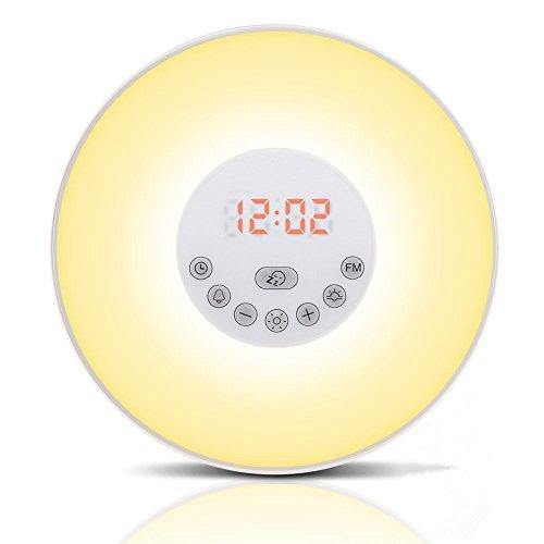 Preisvergleich Produktbild Wake-up Light LED Lichtwecker,  Aufwachen mit Licht,  verschiedene Farben,  Dimmstufen,  Wecktöne und Sonnenaufgangsfunktion Radio NEU