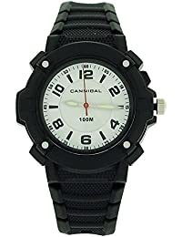 Cannibal Active Boys White Dial Luminous Hand Black Plastic Strap Watch CJ242-03