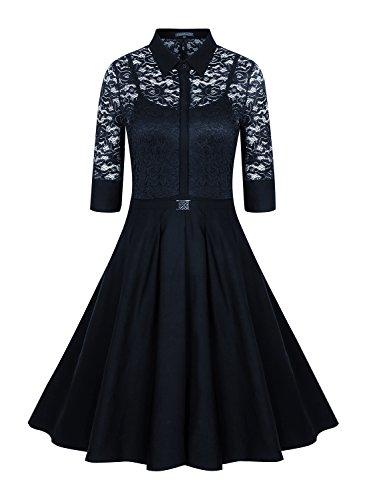 Sparkling YXB Damen Vintage 3/4 Ärmel Cocktailkleid 1950er Jahre Faltenrock Party Kleid Blau M