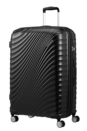 American Tourister Jetglam - Spinner Large Expandable Valigia, 77 cm, 109 liters, Nero (Metallic Black)