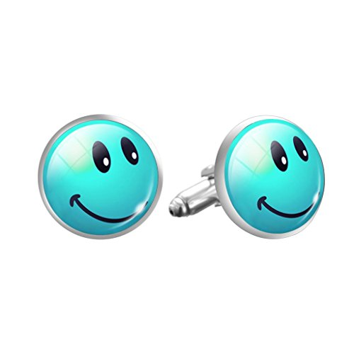 Emoji Smiley-Gesicht Blaue Cosplay Manschettenknöpfe Cufflinks