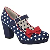 Ruby Shoo Damen Schuhe Crystal Polka Dot Retro Pumps Blau 39