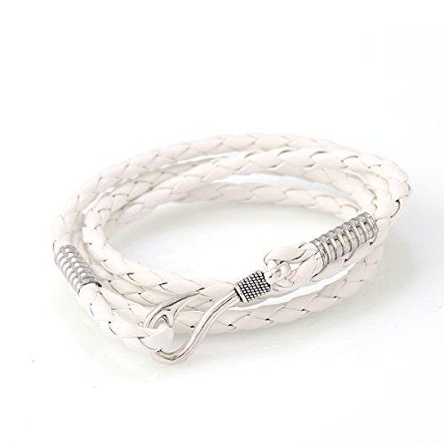 LZHM Neue Art Und Weise Multi Strands Einstellbare Wickelarmbänder Für Damen Stammes- Geflochtenen Seil Geschlossenes Armband Haken,White
