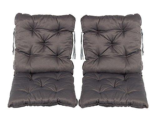Meerweh 2er Set Sitzkissen und Rückenkissen Sessel ca. 50 x 98 x 8 cm Polsterauflage, Grau, 50 x 98...
