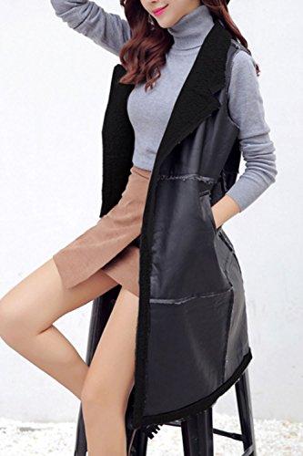 La Femme Automne - Hiver Élégant - Laine De Veste En Cuir Outcoat Collier Avec Kaka Black