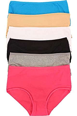 Panmanni 6 Pack of Women's Full Coverage High Waist Cotton Briefs Panties-3XL-Basic